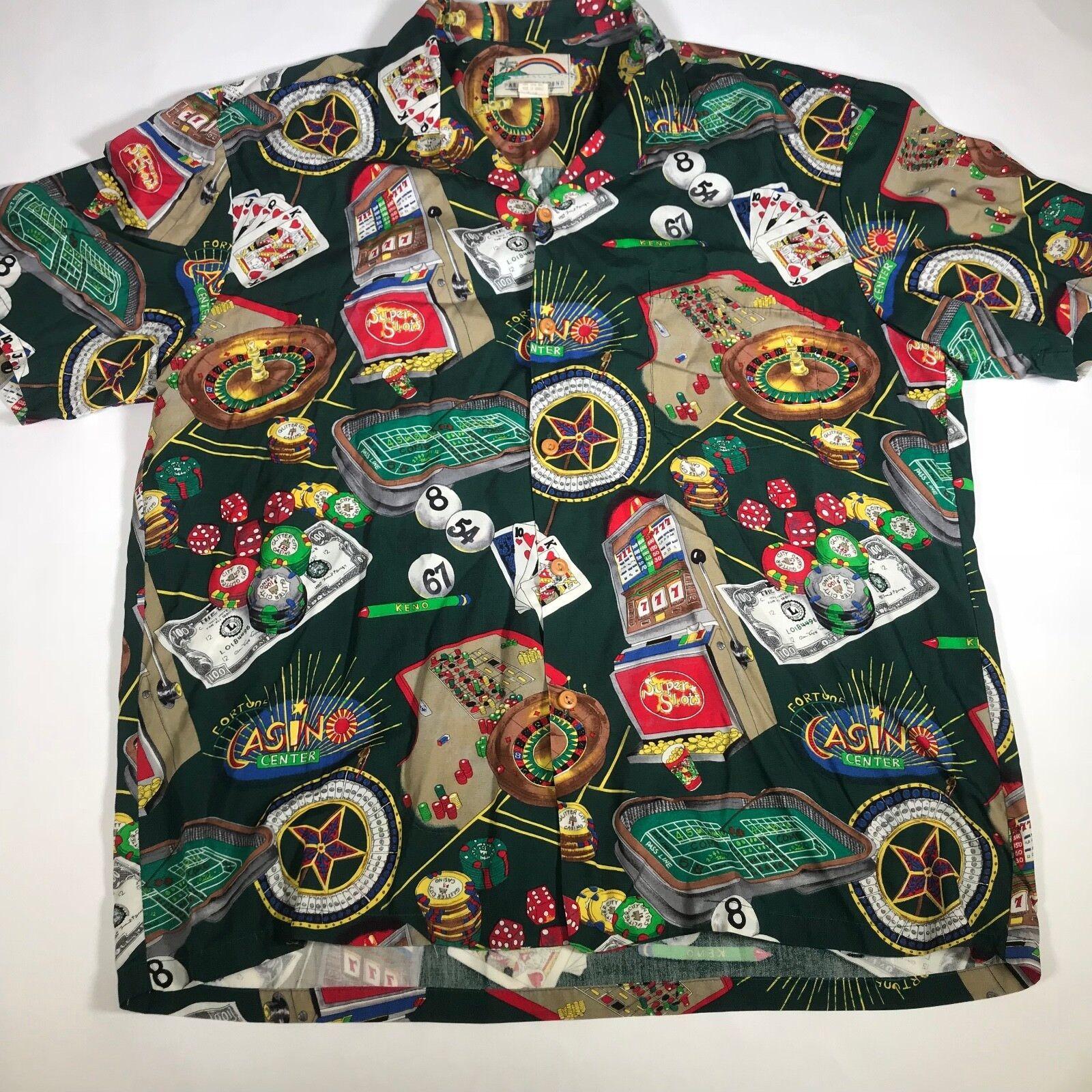 Vintage Paradise Found Men's Large Shirt Casino Graphic Button Hawaiian [EF02]