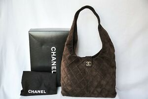 CHANEL Dark Brown Suede Leather Quilted Bag Hobo Messenger Handbag ...