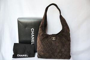 CHANEL Dark Brown Suede Leather Quilted Bag Hobo Messenger Handbag ...