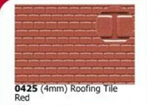 Slaters 0425 0.5mm x 300 x 174mm Roofing Tile Red 4mm Plastikard Sheet