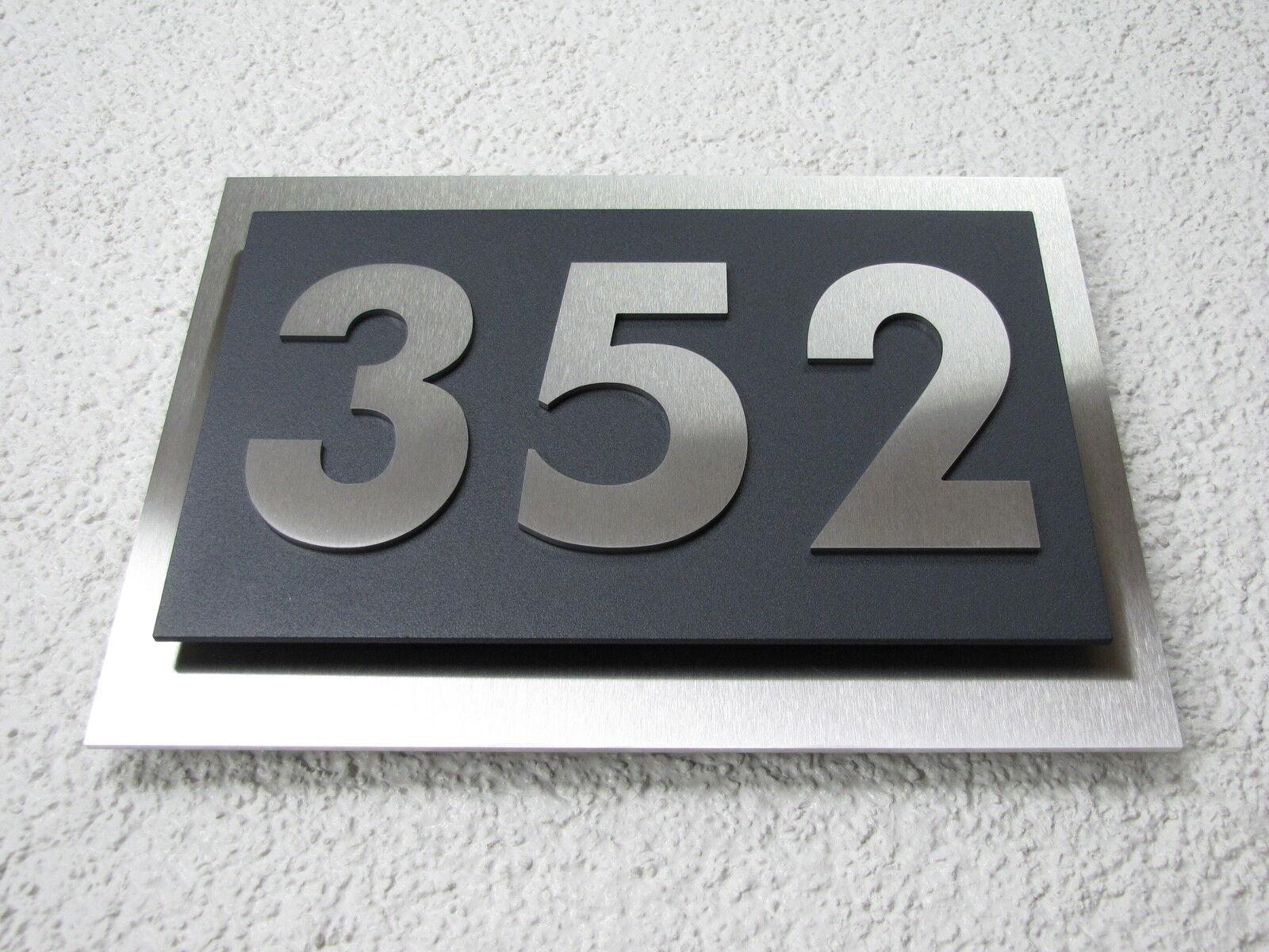 Hausnummer Edelstahl Anthrazit Ral 7016 Design Verona 0-9 a-h A-H 3-stellig V2A