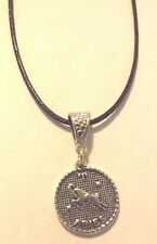 collier cordon ciré noir 47 cm avec pendentif médaille argenté zodiaque bélier