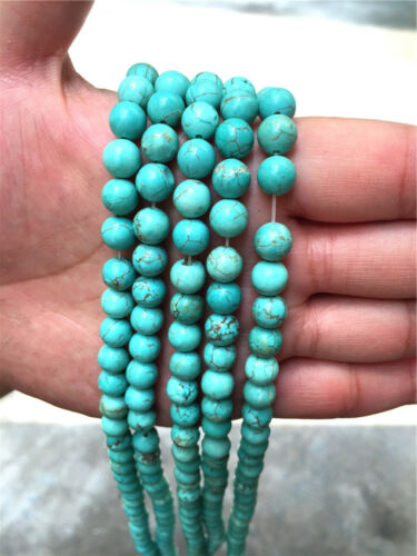 New Diy 4//6//8//10//12mm Natural Stone Turquoise Round Beads fit bracelet necklace