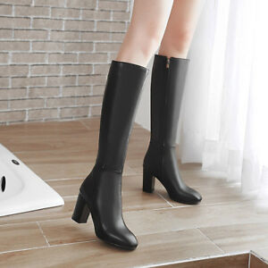 Womens-Zip-Med-Heel-Block-Knee-High-Knight-Boots-Party-Shoes-AU-Plus-Size-2-10