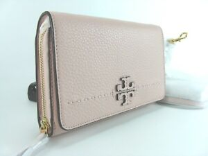 d48a4fd8348a17 NWT Tory Burch McGraw Flat Wallet Leather Crossbody in Pink Quartz ...