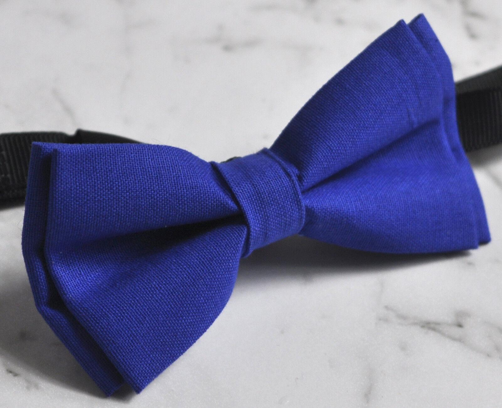 Boy Kids Baby 100/% Cotton Royal Blue Indigo Bow Tie Bowtie Wedding 1-6 Years Old