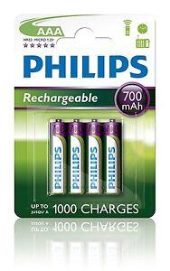4-x-Pilas-Philips-AAA-700-mAh-Recargable-Bateria-NiMH-R03