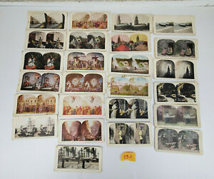 Lot-of-25-Antique-3-D-Photo-View-StereoView-Cards-B-amp-W-Color-Some-Damaged-25-J