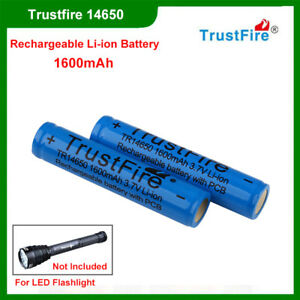 2Pcs-TrustFire-14650-1600mAh-Capacity-Li-ion-Rechargeable-Battery-with-Protected