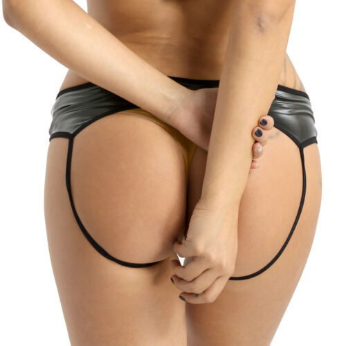 Plus Women/'s Latex Leather Underwear Crotchless Shorts Brief Panties Briefs Rave