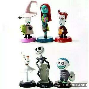 6Pcs//Set Nightmare Before Christmas Jack Skellington Figure Xmas Gift Playset