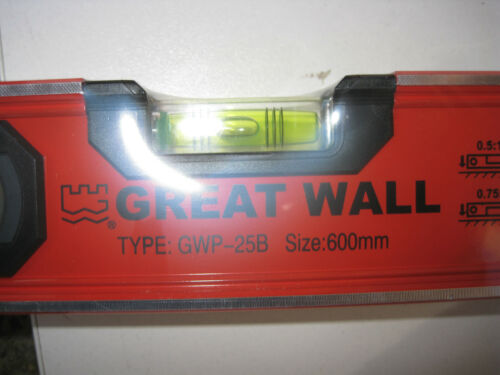 600mm Level. Sturdy Aluminium Spirit Level with 3 big Vials. Great Wall