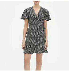 New-Banana-Republic-Women-s-Hem-Print-Ruffle-Wrap-Dress-Sizes-8-10-14