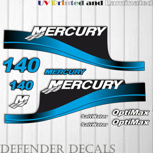 Mercury 140 HP Optimax SaltWater outboard engine decal sticker BLUE set