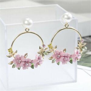 Ear-Personality-Flower-Stud-Fashion-Jewelry-Pearl-Earrings-Women-Gift