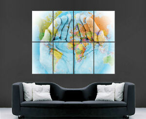 World Map On Hands.Map Of The World Map On Hands Poster Maps Print Giant Wall Art Image