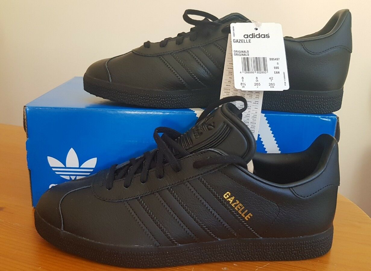 ADIDAS ORIGINALS MEN'S GAZELLE BLACK Size 5 (EUR 38) BRAND NEW WITH TAGS