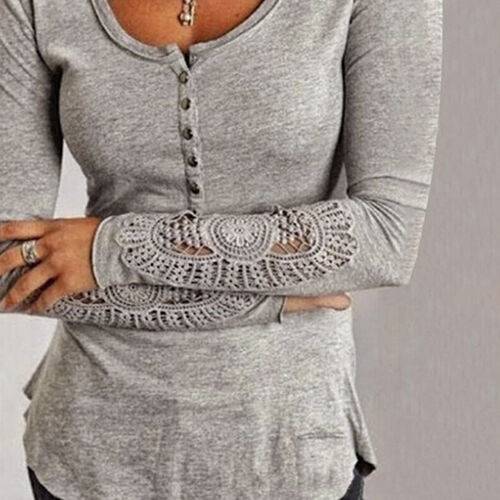 Donna Camicia di Cotone Manica Lunga Camicetta in Pizzo Maglia Larga