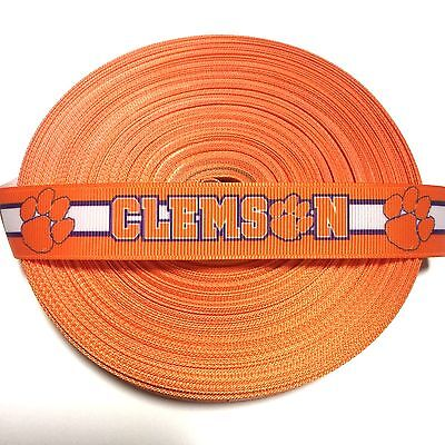 CLEMSON TIGERS INSPIRED ORANGE PURPLE GROSGRAIN RIBBON BY THE YARD USA SELLER