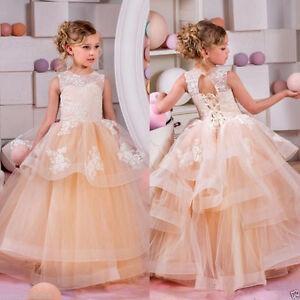 Formal Fleur Fille Robe Kids Pageant Demoiselle D'honneur Mariage Prom Parti Robe De Bal-afficher Le Titre D'origine