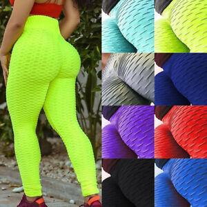 Women Anti Cellulite Yoga Pants High Waist PUSH UP Leggings Scrunch Trousers E1