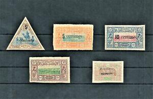 FRENCH-SOMALI-COAST-OBOCK-LOT-OF-5-STAMPS-1894-1902-MINT-HINGED-OG-HIGH-CV
