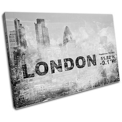 London England UK City Typography SINGLE CANVAS WALL ART Picture Print VA