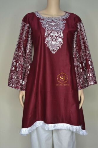LADIES PAKISTANI KURTA KURTHA KURTHI READYMADE SUITS LARGE MEROON