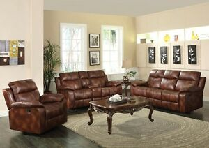 3pc Sofa Set Brown Polished Microfiber Lovely Reclining Motion Sofa Console