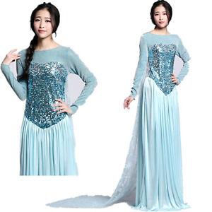 Eiskoenigin-Elsa-Kostuem-Damen-Prinzessin-Tuellkleid-Hochzeit-Ballkleid-Abendkleid