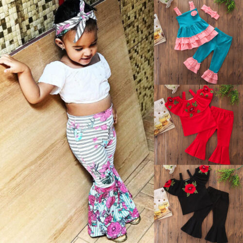 3PCS Toddler Kids Baby Girls Boho Floral Tops+Flared Pants Trousers Outfits Set