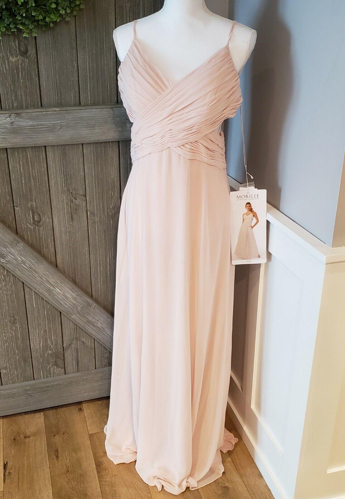 NWT MORILEE by Madeline Gardner 21702 Chiffon Bridesmaid Dress Blush Color Sz 12