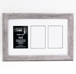 3 Opening 4x6 Glass Face Driftwood Picture Frame W 10x16 White Mat