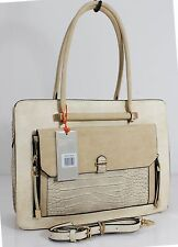 Ladies Bessie Faux Leather Multi-Pocket Tote College University Handbag - Beige