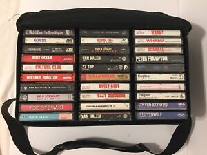 Lot-Of-60-80s-Classic-Rock-Pop-Rock-Vintage-Cassette-Tapes-With-Carry-Case