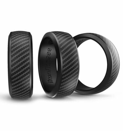 Ikonfittness 3 Black Color Silicone Rubber Wedding Ring for Men Women Metal Box