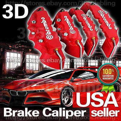 Red 3D Brake Caliper Cover Brembo Style 4P Universal Disc Racing Front Rear CA02