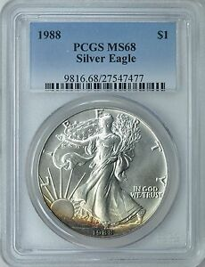 1988-1-American-Silver-Eagle-PCGS-MS-68-Nicely-Toned-ASE