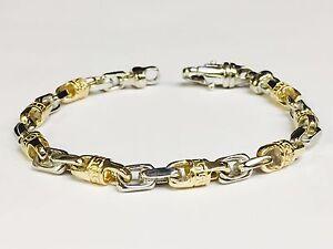 14k-Solid-Gold-Handmade-Link-Men-039-s-chain-Bracelet-7-5-034-24-grams-6-MM