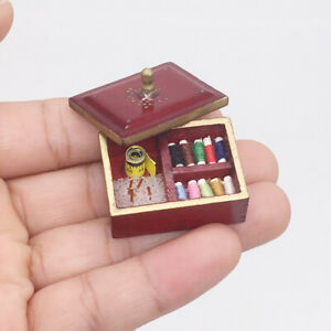 1-12-Miniatur-Jahrgang-Naehen-Box-Kit-Dollhouse-Wood-Moebel-Decor-Accessoires