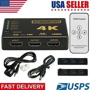 UHD-5-Port-HDMI-Switch-Box-Splitter-4K-3D-1080P-IR-Remote-Control-Selector-Hub