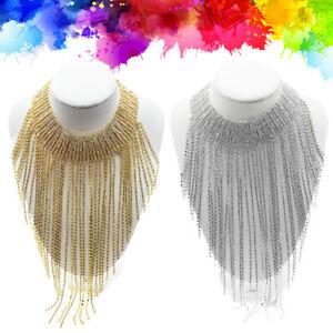 Women-Crystal-Statement-Necklace-Tassel-Choker-Collar-Bib-Jewelry-Gift-US-Stock