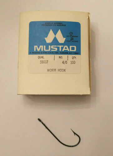 4//0 #33637-1 BOX 100 CT Mustad Fish hooks Worm Hook Tackle Lot