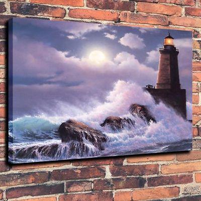 Oil Painting Sea Lighthouse Waves  16x20 Wall Decor Art Quality Canvas Print