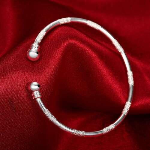 Fashion 925Sterling Solid Silver Jewelry Dull Polish Bangles Bracelet K233