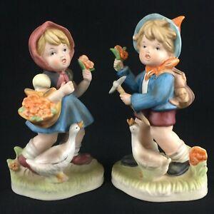 "Set of 2 Vintage Figurines Ceramic Boy & Girl Duck Goose Flowers 8"" Japan"