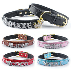 personalized leather dog collars free customized puppy cat pet
