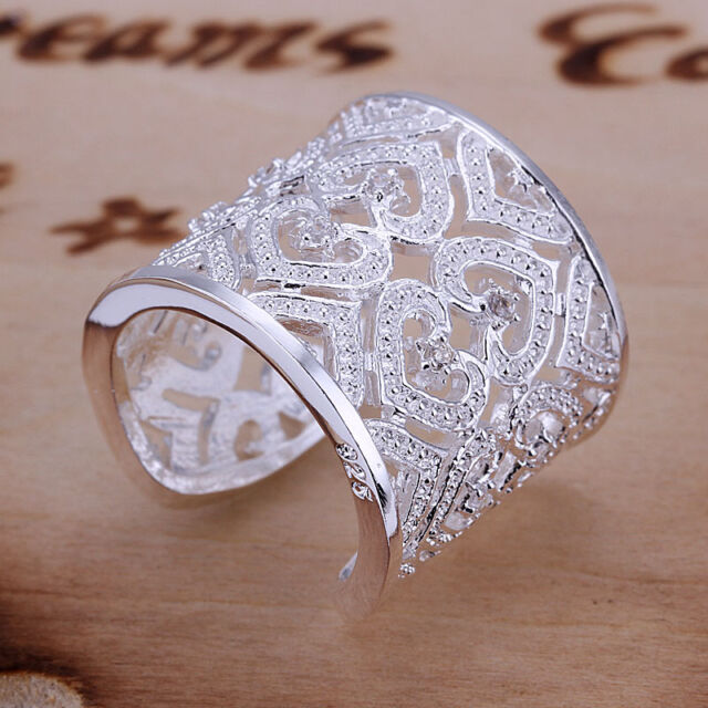 Wholesale Fashion Heart Zircon Silver Plated Cuff Ring Jewelry + Box925 for gift