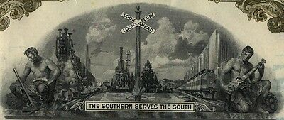 Southern Railway Company Stock Certificate 2 Color Set Norfolk Virginia