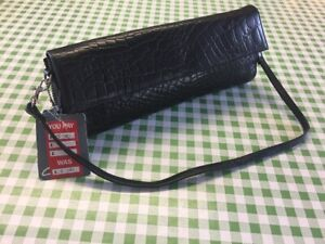 NEW-Clarks-Handbag-Clutch-Bag-Black-Mock-Croc-Genuine-Leather